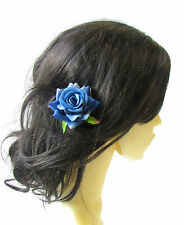 Blue Rose Flower Hair Pin Vintage Rockabilly Clip Bridal 1950s Floral 1940s 1511