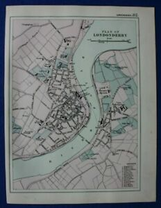 LONDONDERRY, DERRY, original antique atlas map / city plan, G Bacon, 1895