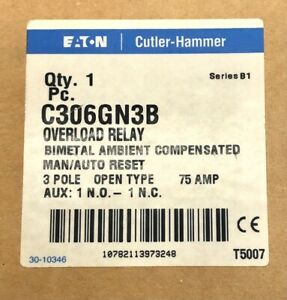 Cutler Hammer C306GN3B Overload Relay 75a Amp New Free Priority Ship!