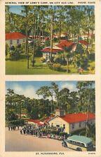 St. Petersburg FL~Chapel~City Bus~Flush Toilets~General View of Lowe's Camp~1940