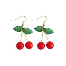 Red Cherry Earrings On Stem Drop NWT, Fruit, Retro, Rockabilly