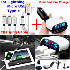 3.4A 2-Port Car Charger USB Charging Cable For iphone 7plus Samsung Type-C Phone