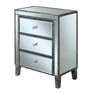 Convenience Concepts Gold Coast 3 Drawer End Table, Gray/Mirror - 413859WGY