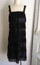VINTAGE 1970's BLACK Satin FRINGE FLAPPER DRESS Costume STAG MUSICAL LADIES 32 A