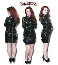 Misftz black pvc buckle restraint strait jacket dress,size 8-32/made to measure