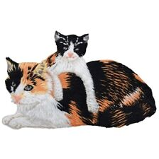 """Kitty Cat Applique Patch - Calico Cat, Kitten 3-3/8"""" (Iron on)"""