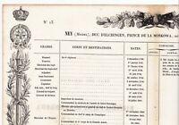 États de Services du Maréchal Michel Ney Napoléon Bonaparte Prince Moskowa 1839