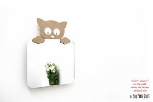 Safety Mirror Kitten with LED light - Wall Decor Mirror - Nursery Kid Mirror