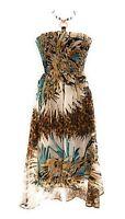 Women's Smocked Tube High Low Halter Embellished Jewelry Maxi Dress NWT 1X & 2X