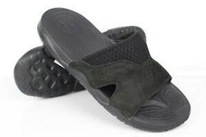 Crocs Men's Swiftwater Leather Slide Sandals Size 10 Black 205618