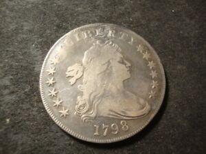 1798 F VF Detail Draped Bust Silver Dollar Coin  AZX