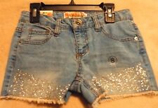 SQUEEZE Girl's12 Medium Stone Colored Jean Shorts Embellished With Glitter