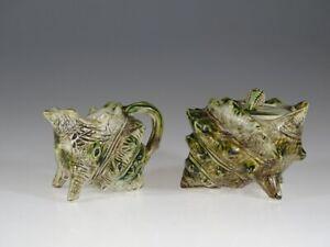 Majolica Aesthetic Movement Conch Shell Figural Cream and Sugar Set, England