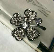 Flowers/Plants Crystal Vintage Costume Brooches/Pins