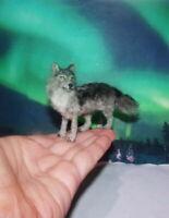 Grey Wolf Dollhouse OOAK Realistic Miniature Handsculpted 1:12 IGMA handmade dog