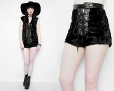 VTG 60s 70s Black FAUX Fur Leather Corset Goth Halloween Wicca witch HOTPANTS  S
