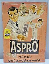 Aspro Vintage Chemist Tin Sign Advertising Medicine Pain Killer Shop Display Old