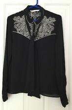 ZARA Ladies Black/White Embroidered Shirt with Neck Tie Detail size M BNWT - 5