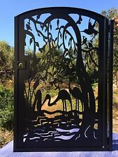 Gate Metal Pedestrian Walk Thru Entry Iron Steel Garden Birds Water Made in USA