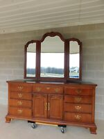 American Drew Chippendale Style Cherry Dresser with Beveled Glass Mirror