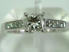 AMAZING PLATINUM DIAMOND PRINCESS-CUT SOLITAIRE RING WITH DIAMOND SHOULDERS