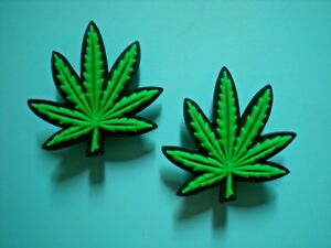 2 Marijuana Hemp Shoe Charm Button Plug Compatible W/ Crocs Shoes For Wristband