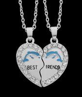2 colliers pendentif cœur à séparer Best friends motif dauphin avec strass.