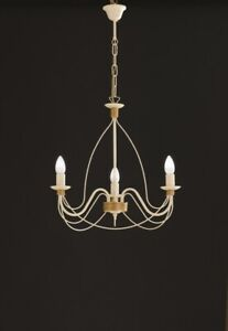 Suspended Lights Wrought Iron Classic Ivory & Gold