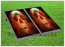 Vinyl Wraps Cornhole Boards Decal Skull On Fire Bag Toss Game Stickers 484