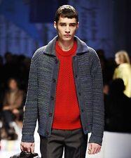 PRADA F/W 2010 Men's RUNWAY Red Wool Mohair Tweed Jumper Sweater IT44/US34 NWT