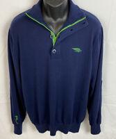 RLX Ralph Lauren Mens Zip Pullover Size XL Navy/Green Sweater Cotton Blend EUC