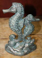 Cast Iron Nautical Seahorse Doorstop Garden Statue Home Decor Book End Beach