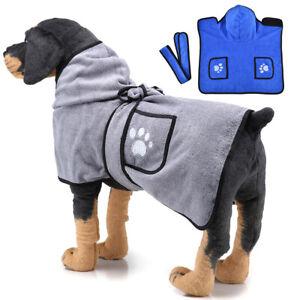 Pet Dog Cat Hooded Bathrobe Towel Coat Puppy Quick-Drying Bath Robe Clothes