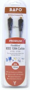 BAFO Premium IEEE 1394 Firewire / Sony i.LINK Cable 3FT 4/4 4Pin To 4Pin - NEW