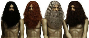 Mens Caveman Wig Black Brown Red Grey Lord of the Rings Gimli Dwarf Hobbit Moses