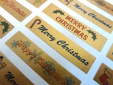 Merry, Happy Christmas Greeting Stickers, Labels for Cards, Envelopes XG4413