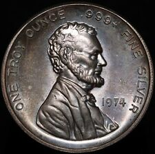 More details for 1974   u.s.a. lincoln the international silver trade unit 1 oz. coin   km coins