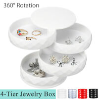 360 Degree Rotating Jewelry Storage Box Organizer Case Earring Necklace Box Gift