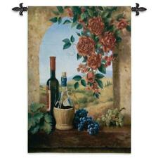38x53 PATIO VIEW Wine Grapes Roses Tuscan Vineyard Tapestry Wall Hanging