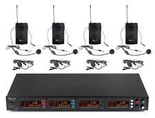Set microphone à Main Micro Sans fil 4 Canaux Autonome 2 Casques Système VHF 50m