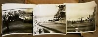 Lot Of 3 Vintage Military Photographs Jet Plane Crash 1953 USS Bon Homme Richard