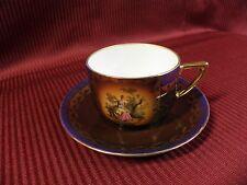 Bohemia Czechoslovakia Cup Saucer Lady Blue Brown Gold Karlsbader Porzellan