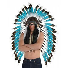 Feather Headdress Adult Indian Costume Halloween Fancy Dress