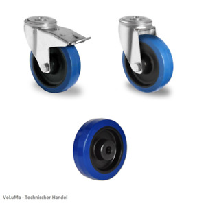 Blue wheels Schwerlastrollen Vollgummi Rad Transportrollen  80 100 125 160 200mm