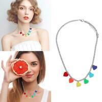 Necklace Chain Lollipop Heart Shaped Pendant Multi-Color Jewelry Gift Fo E9I1