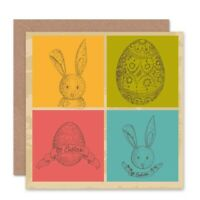 Bunny Egg Easter Rabbit Blank Greeting Card With Envelope