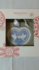Wedgwood Blue Jasperware Heart Dove Our First Christmas Together Ornament 2016