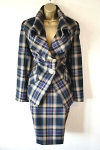 £899 VIVIENNE WESTWOOD 42 Tartan Check Tailored Virgin Wool Jacket & Skirt Suit