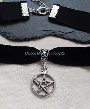 Collar/Gargantilla De Terciopelo Negro Gótico Pentáculo Pentagrama Wicca/Pagano// Halloween UK