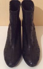 New ECCO Black Floral Leather Ankle Boots.Size:40